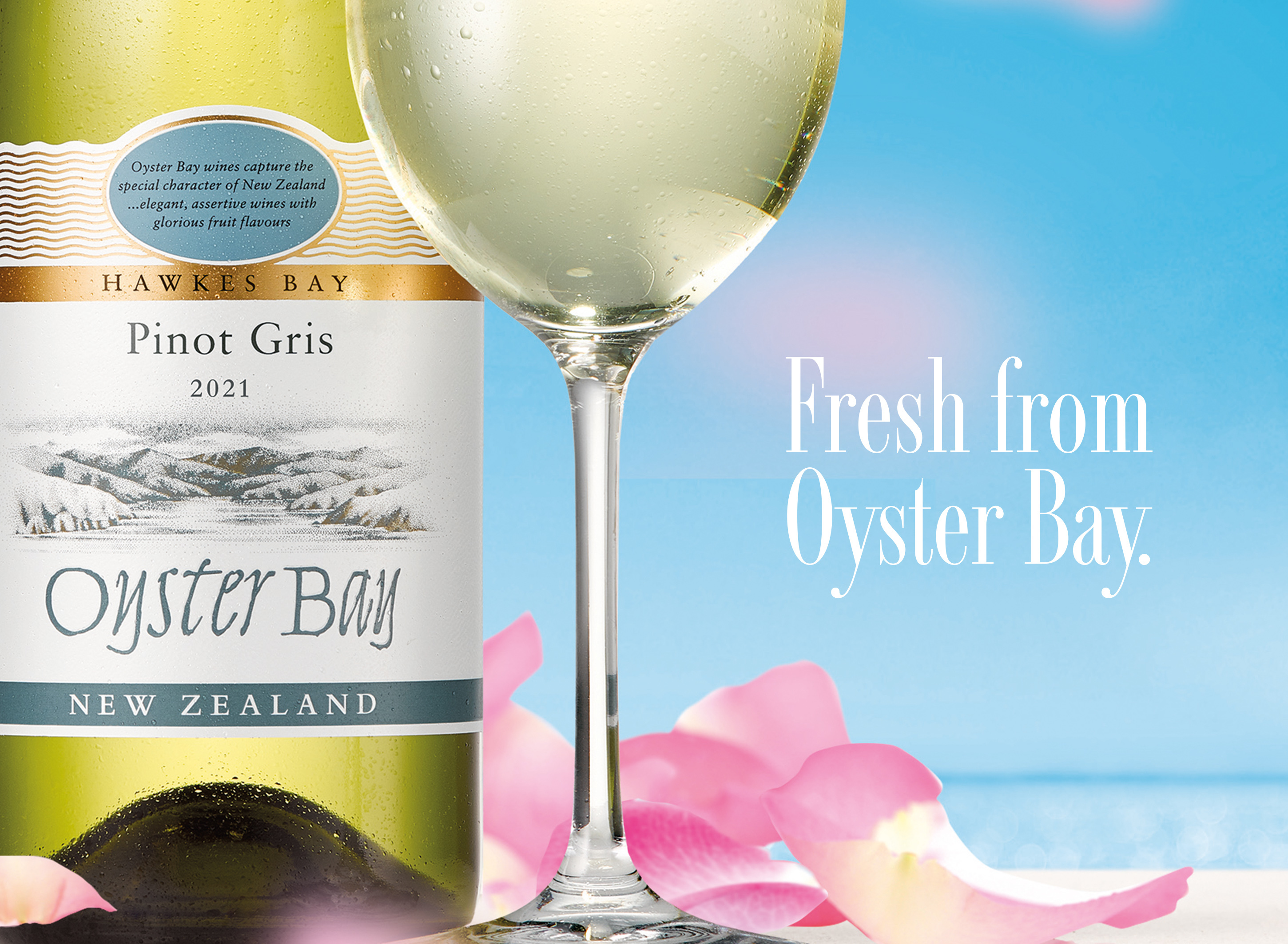 2021 oyster bay hawkes bay pinot gris bottle glass tagline
