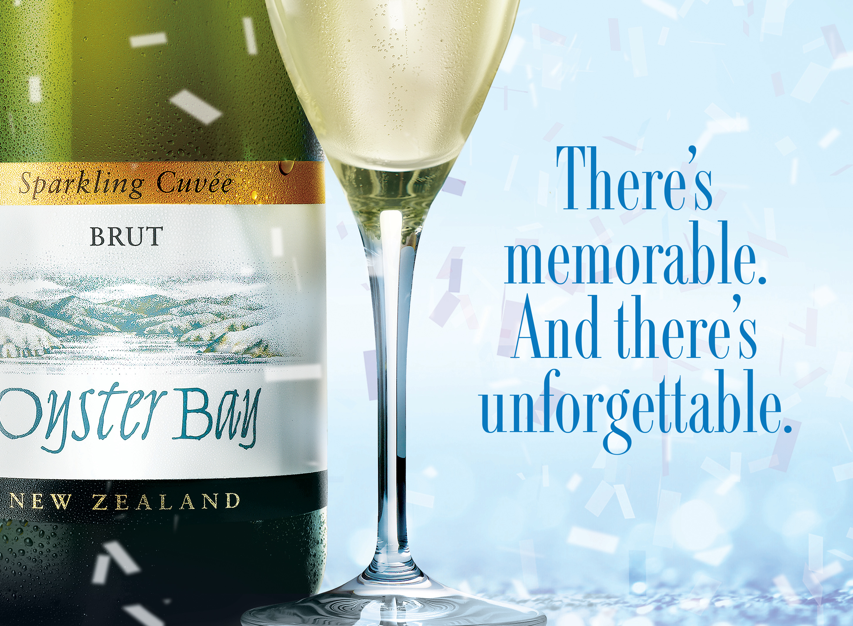 oyster bay sparkling cuvee brut bottle glass tagline